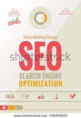Search Engine Optimization - SEO - Online Marketing Strategy Design - stock vector