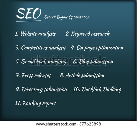Search Engine Optimization SEO Process - stock vector