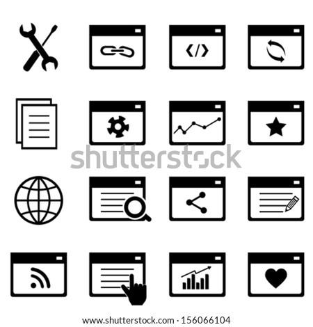 Search engine optimization symbols icon set - stock vector