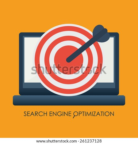 Search engine optimization with an arrow hitting the center of a laptop target vector illustration. - stock vector