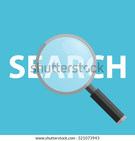 Search Flat Icon Vector on a blue background, Magnifying Glass