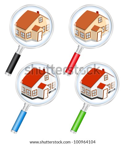 Search for house concept, vector eps10 illustration - stock vector
