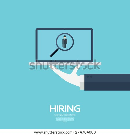 Search for job symbol with magnifying glass in modern flat design. Eps10 vector illustration. - stock vector