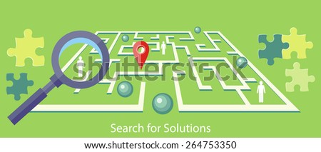 Search for solution labyrinth, maze, puzzle concept with business people. Concept in flat design style. Can be used for web banners, marketing and promotional materials, presentation templates - stock vector