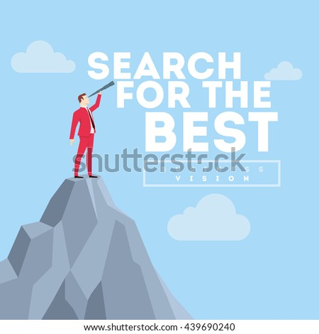 Search for the best. Business concept illustration. Businessman in red suit. Flat style vector illustration. - stock vector