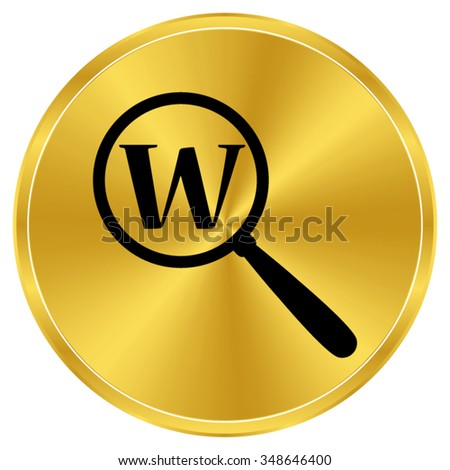 Search - gold vector icon - stock vector