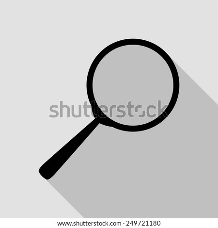 search icon - black illustration with long shadow - stock vector