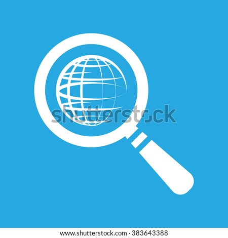 search icon of flat globe planet, vector magnifying glass on a blue background - stock vector