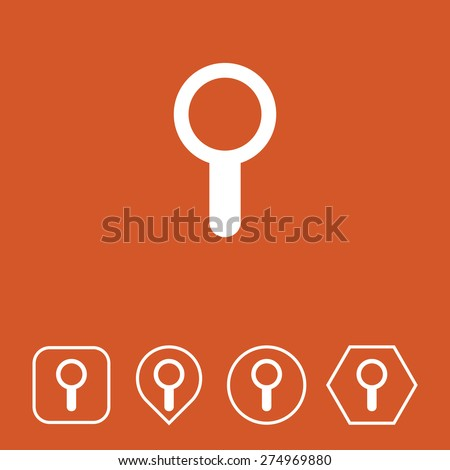Search Icon on Flat UI Colors with Different Shapes. Eps-10. - stock vector