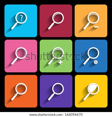 Search icon series in Metro style - stock vector