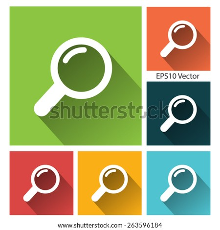 Search icon Set- long shadow flat icon set for app and web site. EPS10 vector - stock vector