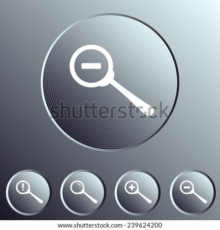 search icon set. zoom out icon. metallic buttons. - stock vector