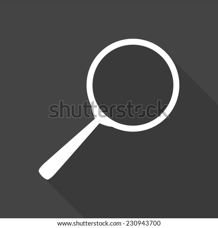 search icon - vector illustration with long shadow isolated on gray  - stock vector