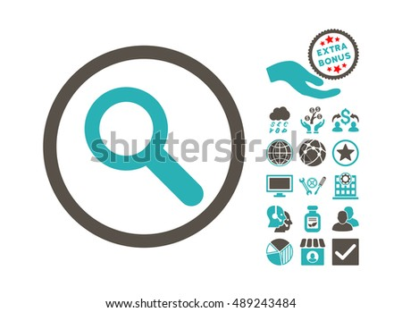 Search icon with bonus icon set. Vector illustration style is flat iconic bicolor symbols, grey and cyan colors, white background.