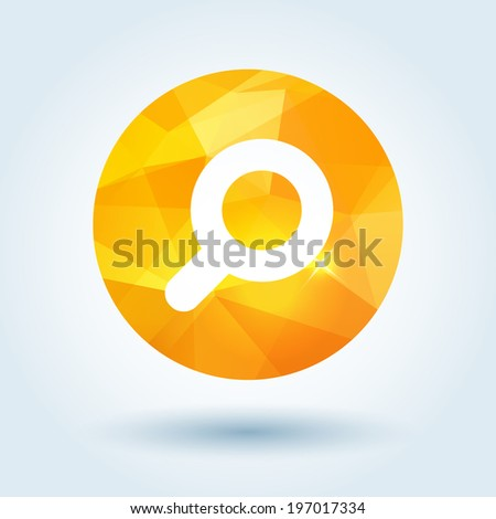 Search icon with modern triangle pattern - stock vector