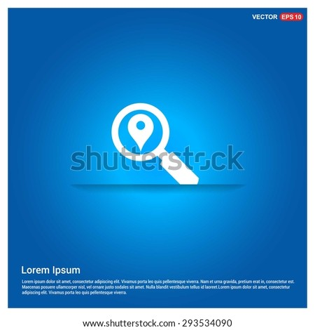 search location icon - abstract logo type icon - abstract glowing blue background. Vector illustration - stock vector