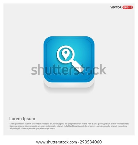 search location icon - abstract logo type icon - blue abstract 3d button with light board and shadow on gray background. Vector illustration - stock vector