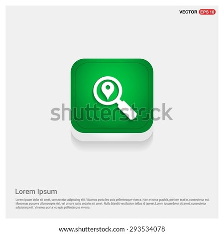 search location icon - abstract logo type icon - green abstract 3d button with light board and shadow on gray background. Vector illustration - stock vector
