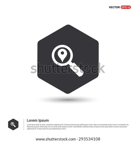 search location icon - abstract logo type icon - hexagon black background. Vector illustration - stock vector