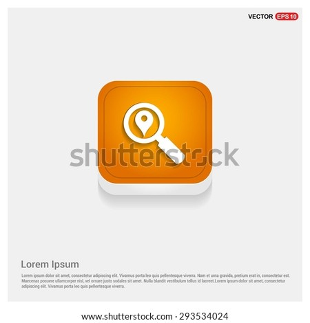 search location icon - abstract logo type icon - Orange abstract 3d button with light board and shadow on gray background. Vector illustration - stock vector