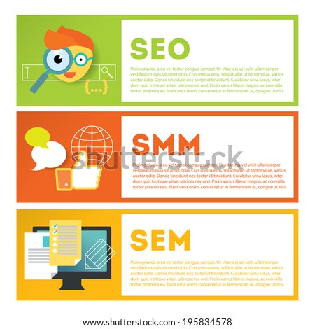 Search optimization and internet media marketing illustration set. Stylish design elements or icons on colored background. Vector modern illustration in flat style. - stock vector