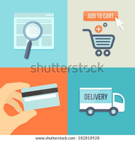 search, order, pay, deliver icons in flat design style for online shop - stock vector