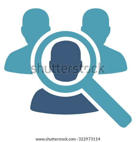 Search Patient vector icon. Style is bicolor flat symbol, cyan and blue colors, rounded angles, white background. - stock vector