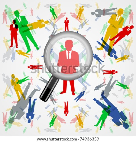 Search people through colorful male silhouettes - stock vector