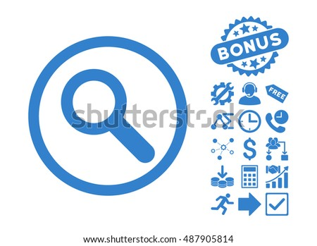 Search pictograph with bonus elements. Vector illustration style is flat iconic symbols, cobalt color, white background.