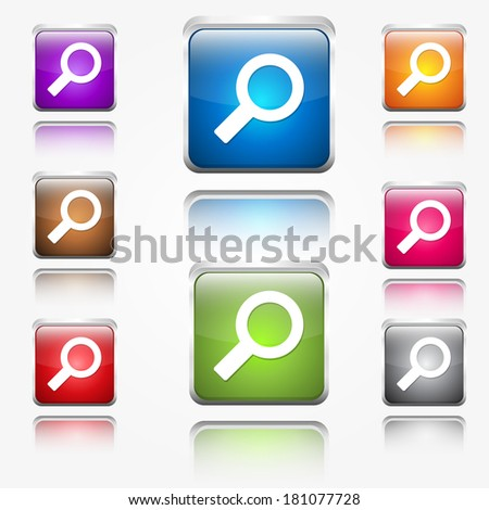 Search Round Corner Vector  Web Icon Button Set - stock vector