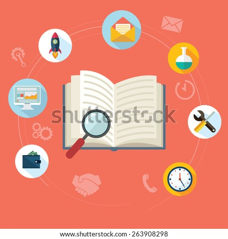 Search, SEO concept Flat concept education background. - stock vector