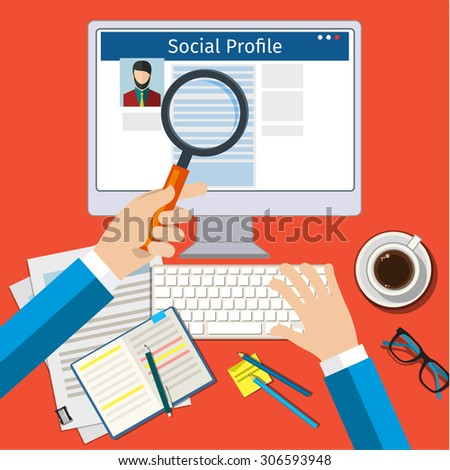 Search Social Profile. Screen with social network. Flat design, vector illustration. - stock vector