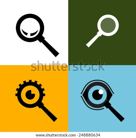 Search vector logo design template. magnifying glass or zoom icon. - stock vector