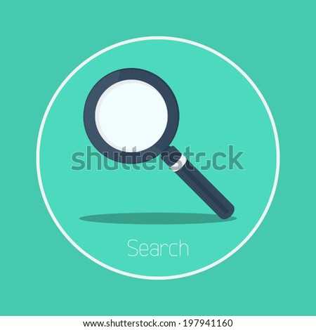 Search : Vector magnifying glass icon flat design - stock vector
