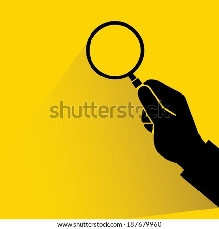 search, verify on yellow background, hand holding magnifier glass - stock vector