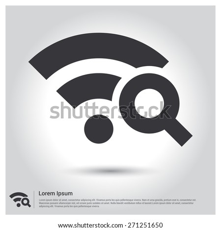 Search wi-fi connection icon wifi searching, pictogram icon on gray background. Vector illustration for web site, mobile application. Simple flat metro design style. Outline Icon. Flat design style - stock vector