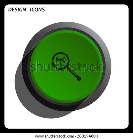 Search wi-fi network. icon. vector design Green Start button, forward, to continue. Flat design style - stock vector