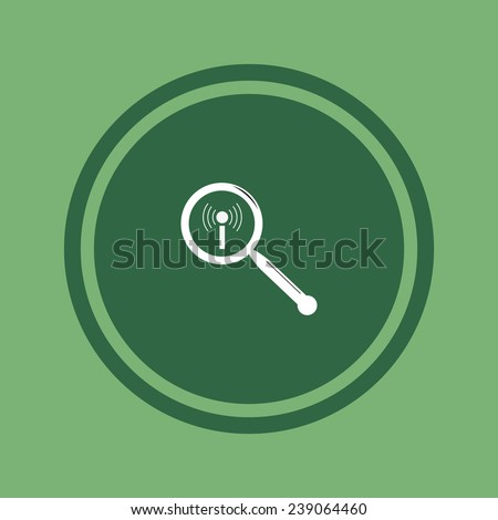 Search wi-fi network on green background, vector, 10 EPS - stock vector