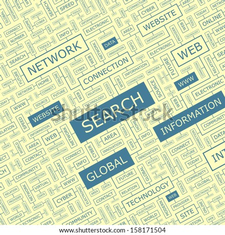 SEARCH. Word cloud concept illustration. Graphic tag collection. Wordcloud collage with related tags and terms.