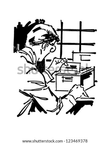 Searching Card Index File - Retro Clipart Illustration - stock vector