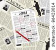 Searching for a job in newspapers and selecting them - stock vector