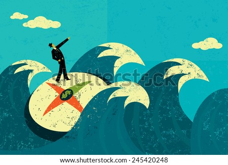 Searching for revenue in uncharted waters A businessman searching for new revenue in uncharted waters. The man, compass, and waves are on a separate labeled layer from the background - stock vector