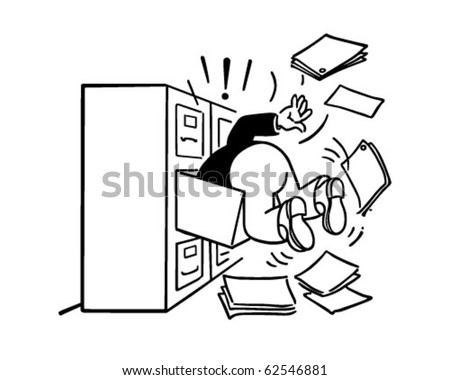Searching The Filing Cabinet - Retro Clipart Illustration - stock vector