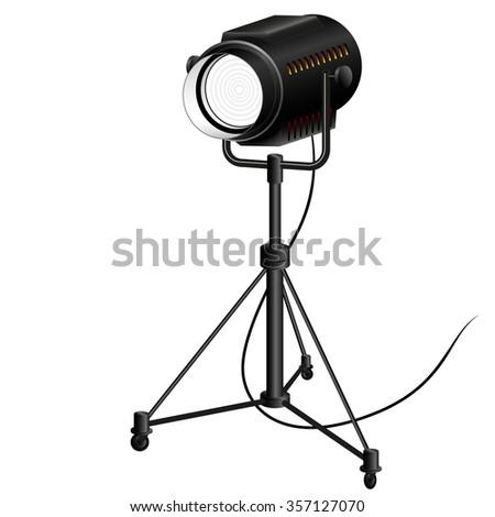 searchlight to illuminate the scene filming - stock vector