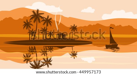 Seascape at sunset, tropical, palm trees, island, cabin, sailing, ocean, vector illustration