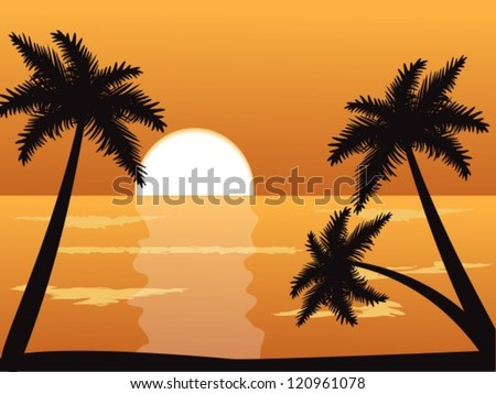Seascape at sunset with palm trees in the foreground - stock vector