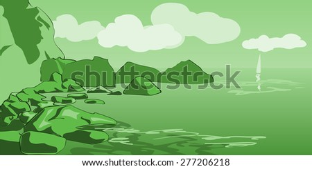 Seascape, boat, sea, rocks, clouds, vector illustration