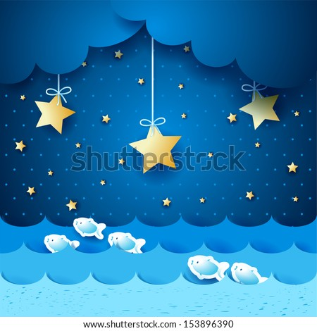 Seascape, fantasy illustration. Vector - stock vector