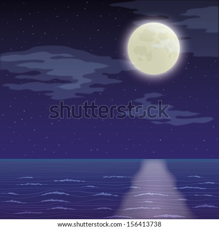 Seascape landscape, dark night sky with stars and sea. Eps10, contains transparencies. Vector - stock vector