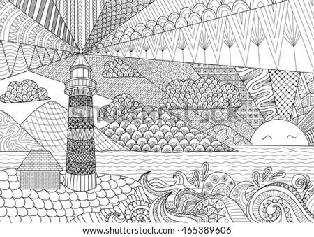 Seascape Line Art Design Coloring Book Stock Vector (Royalty Free ...